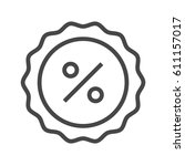 percent badge thin line vector... | Shutterstock .eps vector #611157017
