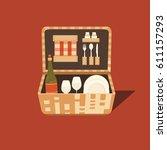 vector illustration of a picnic ... | Shutterstock .eps vector #611157293