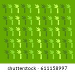 green pattern with bouquet of... | Shutterstock .eps vector #611158997