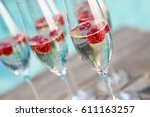 champagne glasses with... | Shutterstock . vector #611163257