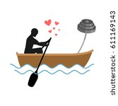 lover fitness. man and barbell...   Shutterstock .eps vector #611169143