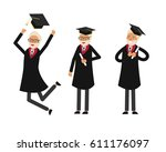 group of graduate students. old ... | Shutterstock .eps vector #611176097