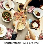 group of friends toasting each... | Shutterstock . vector #611176493