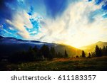 sunset in the mountains | Shutterstock . vector #611183357