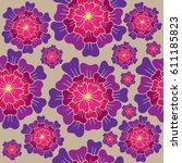 vector seamless floral pattern... | Shutterstock .eps vector #611185823