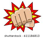 comic fist front view isolated...   Shutterstock .eps vector #611186813