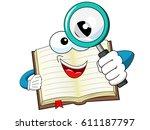 mascot open book looking... | Shutterstock .eps vector #611187797