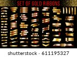 gold ribbons set with a red... | Shutterstock .eps vector #611195327