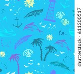 summer seamless pattern with... | Shutterstock .eps vector #611200517