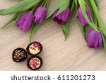 template of purple tulips and... | Shutterstock . vector #611201273
