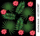 tropical flowers decorative card | Shutterstock .eps vector #611201387