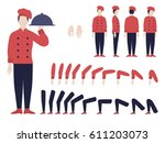 italian chef animation set with ... | Shutterstock .eps vector #611203073