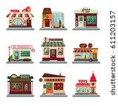 colorful city buildings set... | Shutterstock .eps vector #611203157