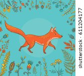 vector illustration of cute fox ... | Shutterstock .eps vector #611204177
