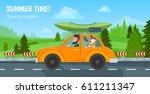 summer time  traveling together.... | Shutterstock .eps vector #611211347
