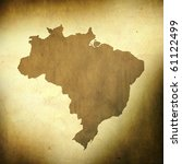 There is a map of Brazil on grunge paper background - stock photo