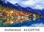 old town of oberried  brienz ...   Shutterstock . vector #611229743