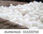 cocoon silk in basket for... | Shutterstock . vector #611233763
