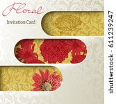 elegant silk covered invitation ... | Shutterstock .eps vector #611239247