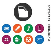 set of 9 part filled icons such ... | Shutterstock .eps vector #611241803