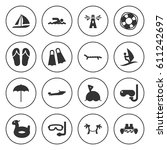 set of 16 sea filled icons such ... | Shutterstock .eps vector #611242697