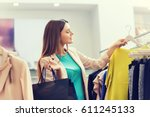 sale  fashion  consumerism and... | Shutterstock . vector #611245133
