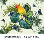 vector tropical pattern  with... | Shutterstock .eps vector #611245457