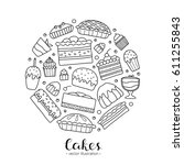 cute doodle outline cakes for... | Shutterstock .eps vector #611255843
