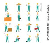 construction worker character... | Shutterstock .eps vector #611256323