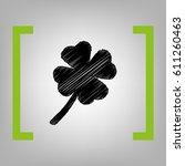 leaf clover sign. vector. black ...