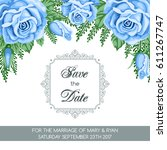 save the date card template... | Shutterstock .eps vector #611267747