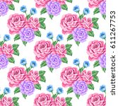 seamless pattern with roses and ... | Shutterstock .eps vector #611267753