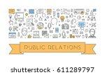 line web banner for public... | Shutterstock . vector #611289797