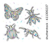 set of fashion insects patches... | Shutterstock .eps vector #611300237