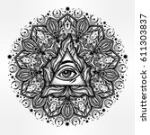 all seeing eye in ornate round... | Shutterstock .eps vector #611303837