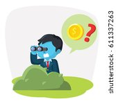 blue businessman searching coin ... | Shutterstock .eps vector #611337263