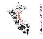 cartoon map of peru. vector... | Shutterstock .eps vector #611341427
