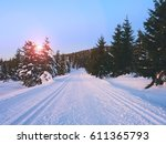 Road In Under Fresh Snow. Cros...