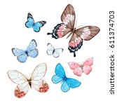a watercolor set of flying... | Shutterstock . vector #611374703