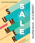 summer sale banner design... | Shutterstock .eps vector #611380007