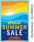 summer sale banner design... | Shutterstock .eps vector #611380013