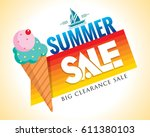 summer sale banner design... | Shutterstock .eps vector #611380103