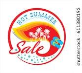 summer sale banner design... | Shutterstock .eps vector #611380193