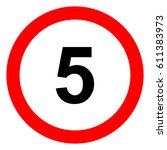 speed limit traffic sign 5 ... | Shutterstock .eps vector #611383973