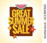 summer sale banner design... | Shutterstock .eps vector #611384363