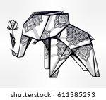 geometric origami elephant... | Shutterstock .eps vector #611385293