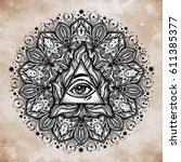 all seeing eye in ornate round... | Shutterstock .eps vector #611385377