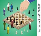 miniature business people... | Shutterstock .eps vector #611387867