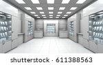 mini shop blank interior. 3d... | Shutterstock . vector #611388563