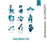 happy mothers day simple flat... | Shutterstock .eps vector #611396297